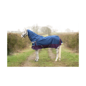 The ultimate lightweight rug! DefenceX System lightweight Turnout Rug Made from a durable and waterproof 1200 denier material, this no fill rug is ideal for when the weather is slightly warmer but still wet. With adjustable cross surcingle's, twin clip chest fastenings and leg straps to keep this rug securely in place. Featuring specially shaped tail flap to give ultimate coverage, detachable neck cover for versatility and reflective areas for optimum visibility.