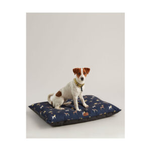 Joules Dog print canvas mattress thickly padded to provide warmth and extra comfort, Water resistant with a Non-slip base. Machine washable at 30°C.